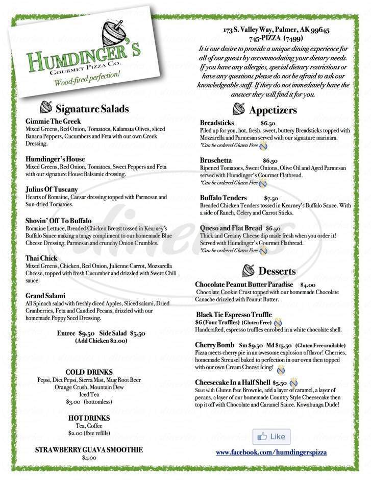 menu for Humdinger's Gourmet Pizza Co
