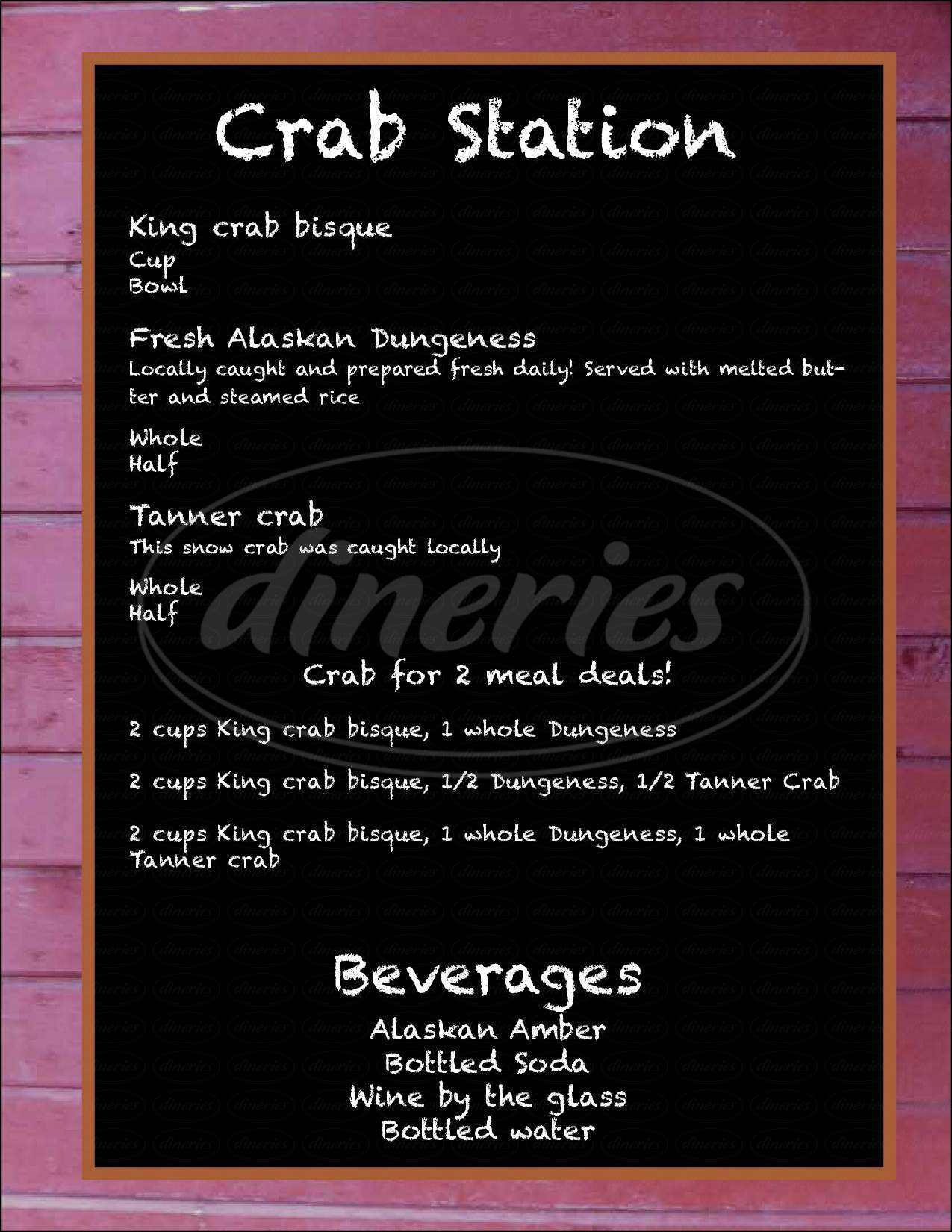 menu for The Crab Station