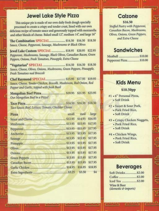menu for Jewel Lake Pizza & Tea Garden