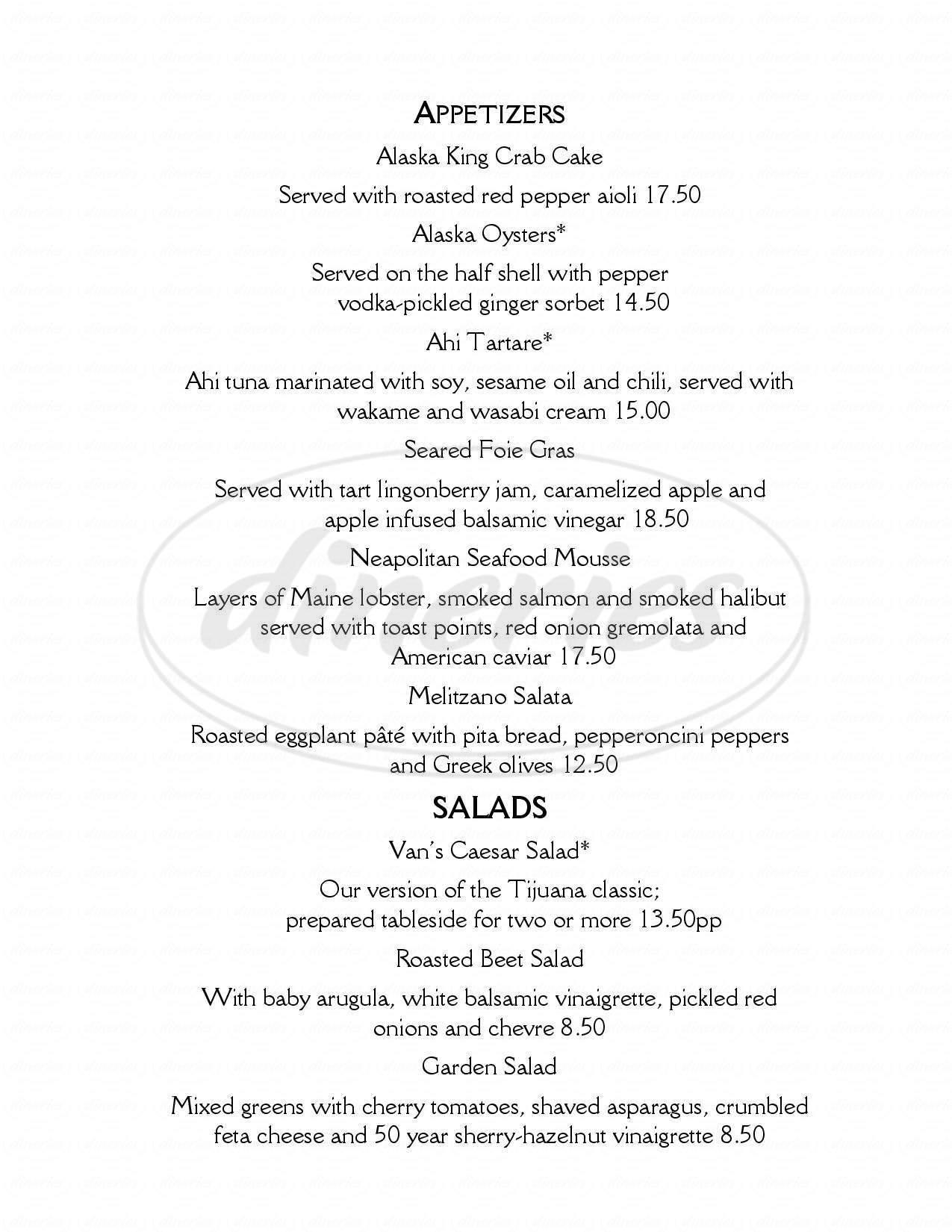 menu for Marx Bros Cafe