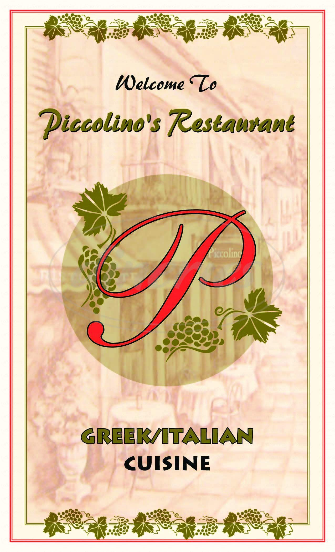 menu for Piccolinos