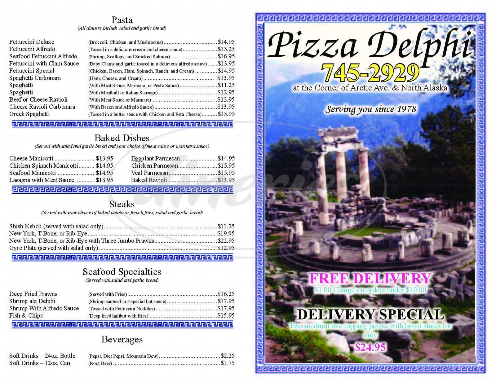 menu for Pizzaria Delphi