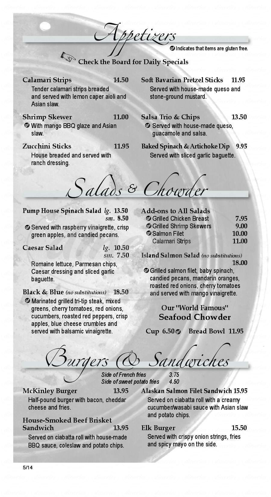 menu for The Pump House Restaurant & Saloon