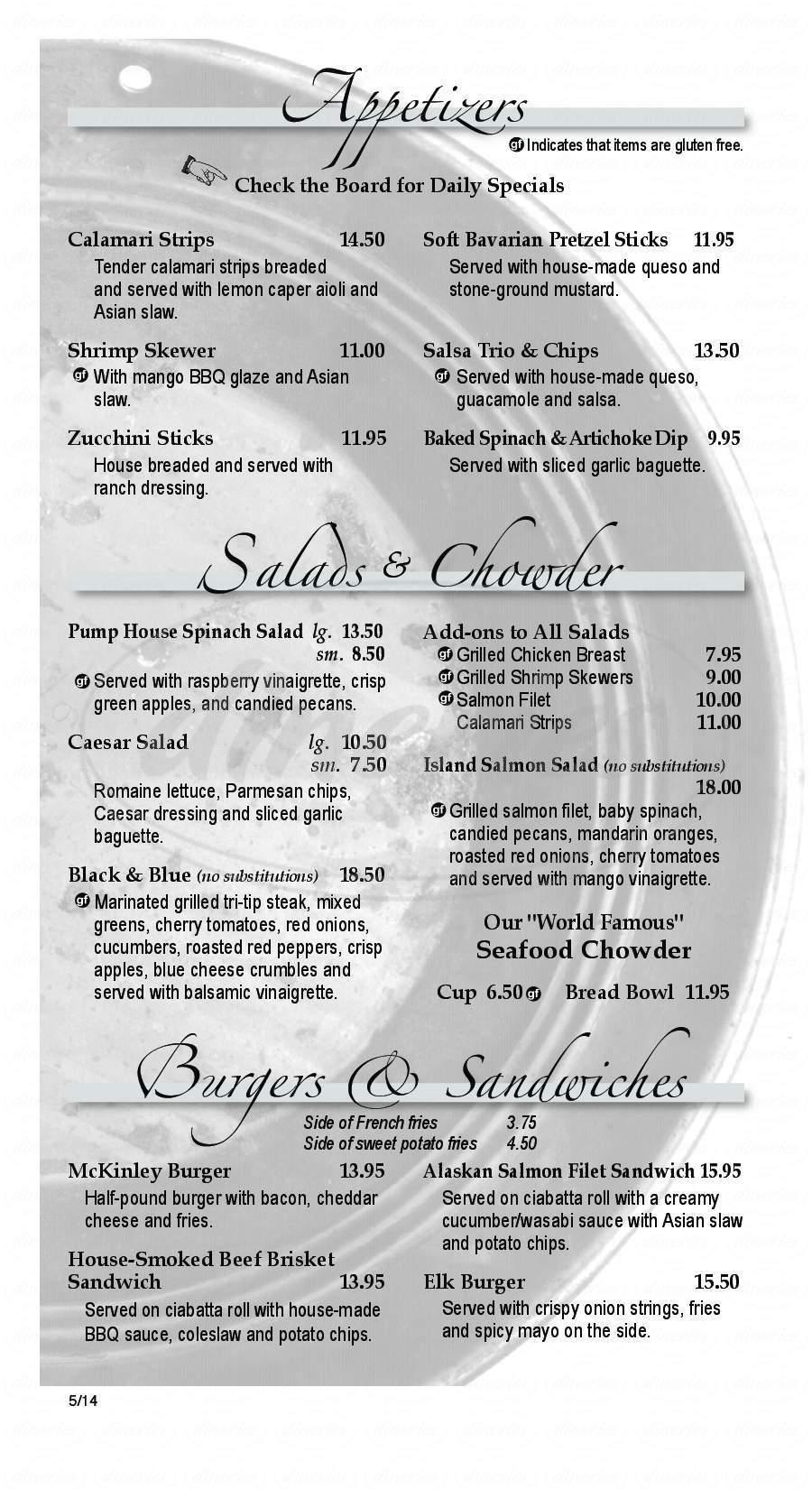 menu for The Pump House Restaurant & Saloon