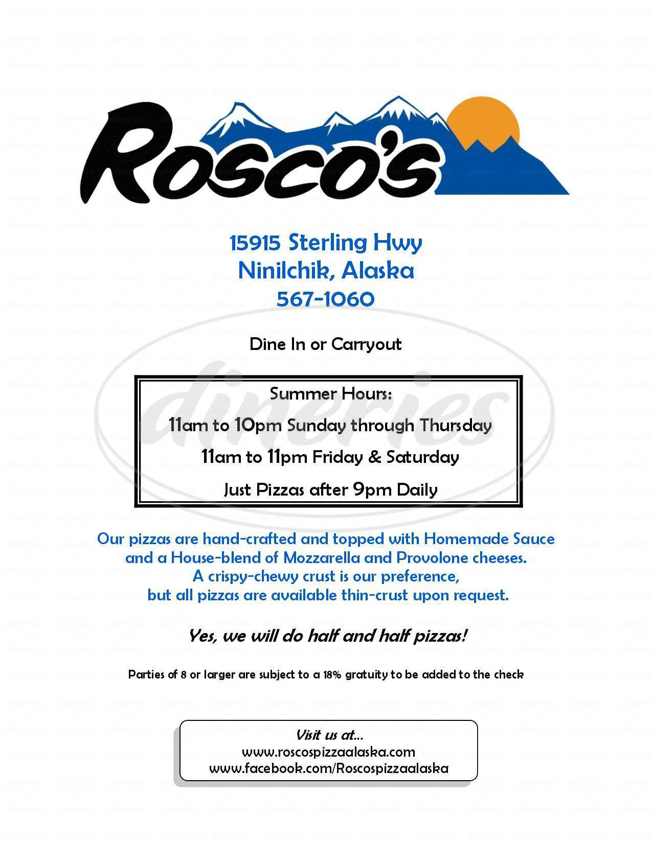 menu for Rosco's Pizza