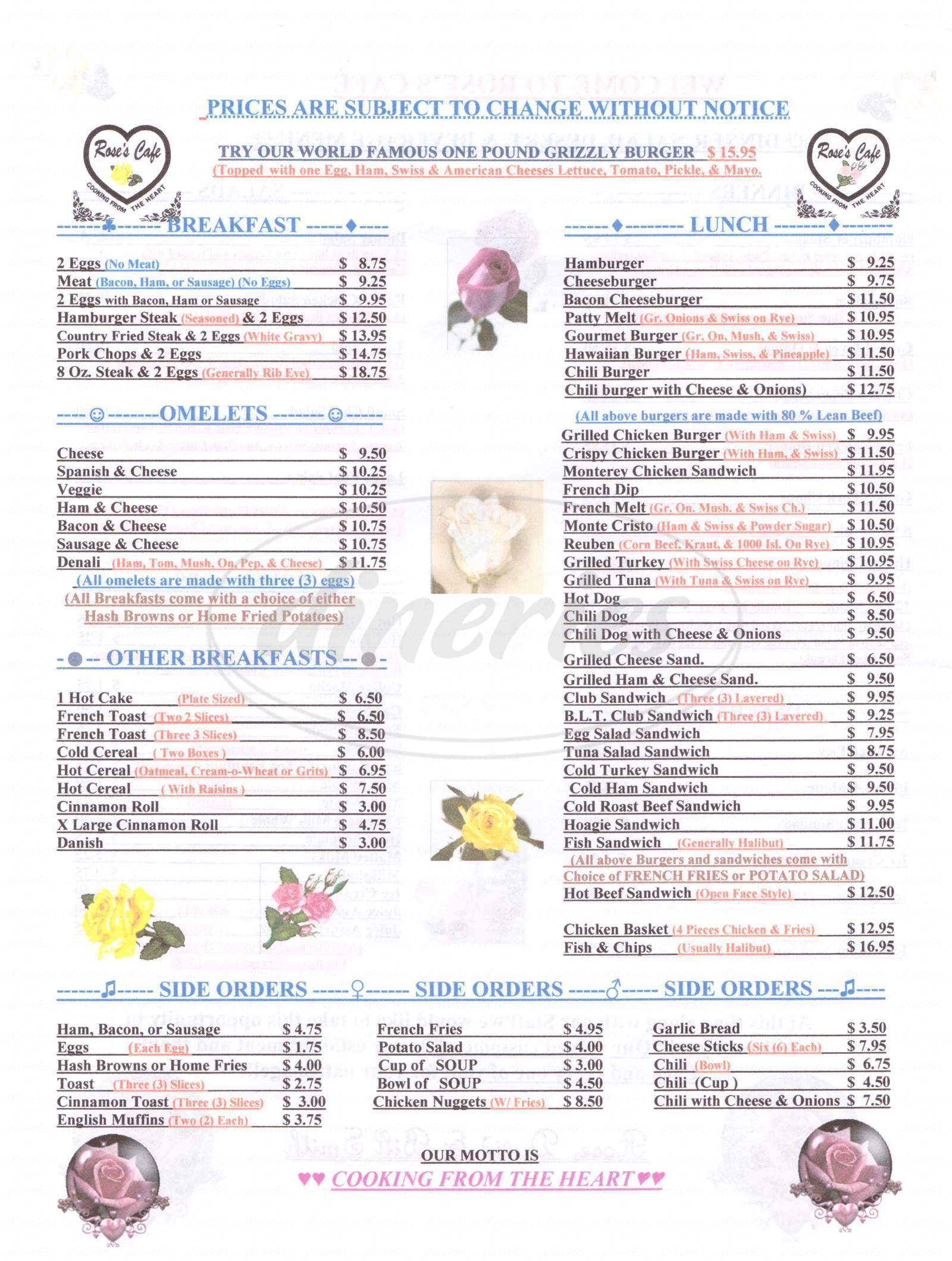 menu for Rose's Cafe