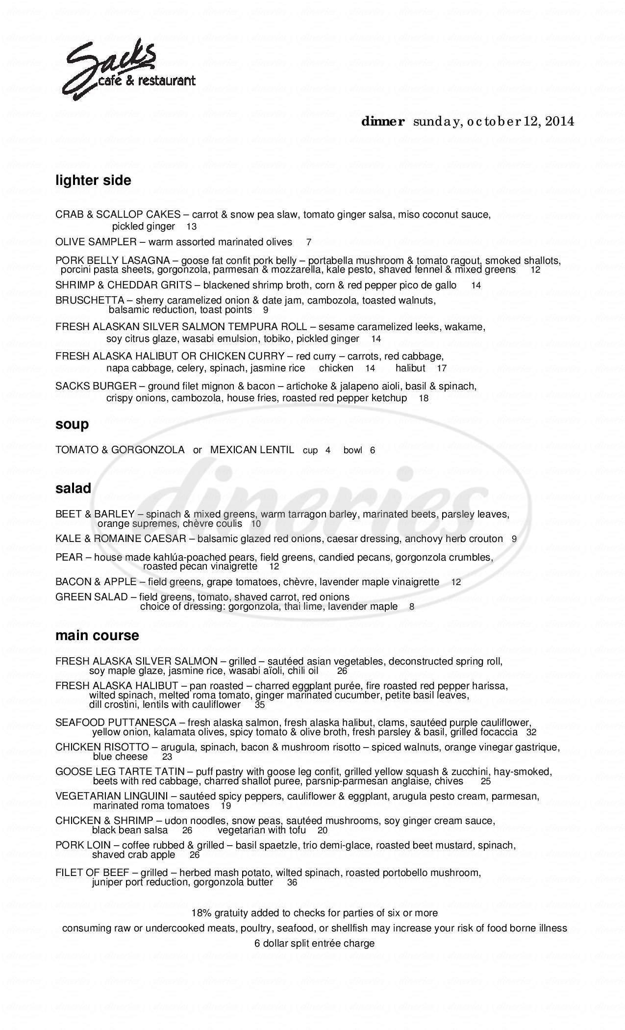 menu for Sacks Cafe And Restaurant