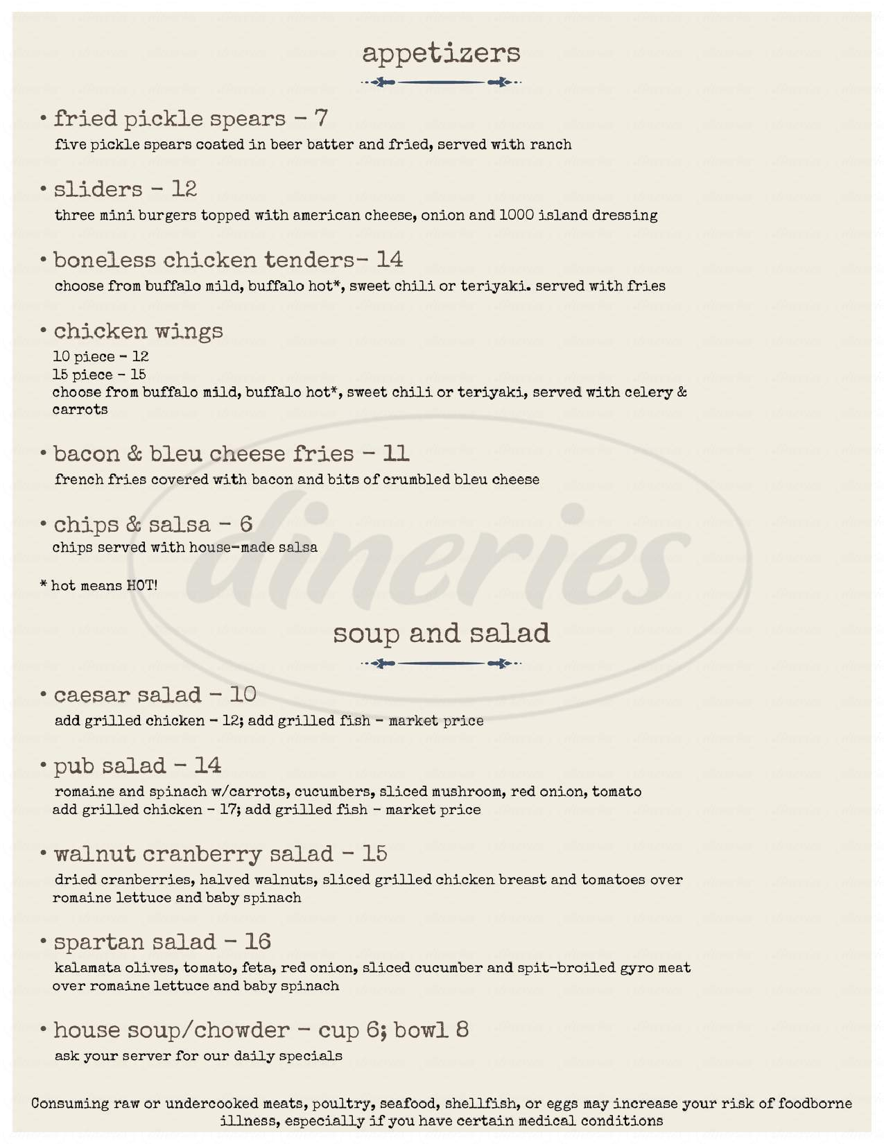 menu for Bayview Restaurant