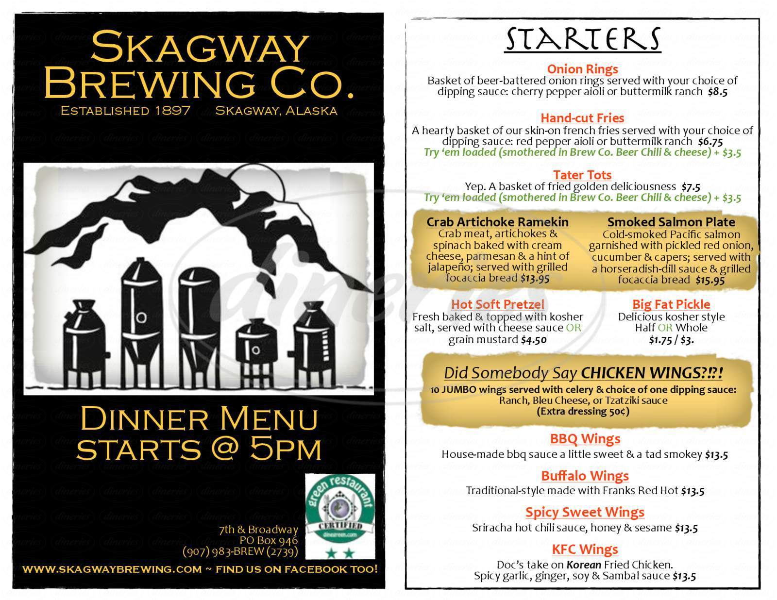 menu for Skagway Brewing Company