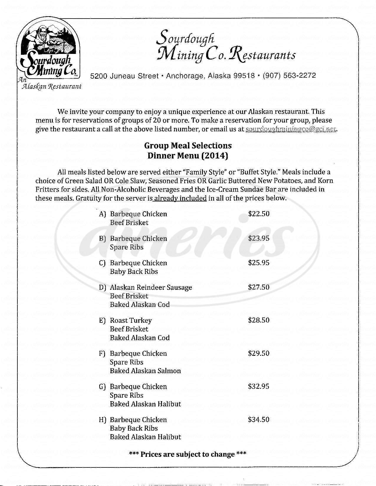 menu for Sourdough Mining Co.