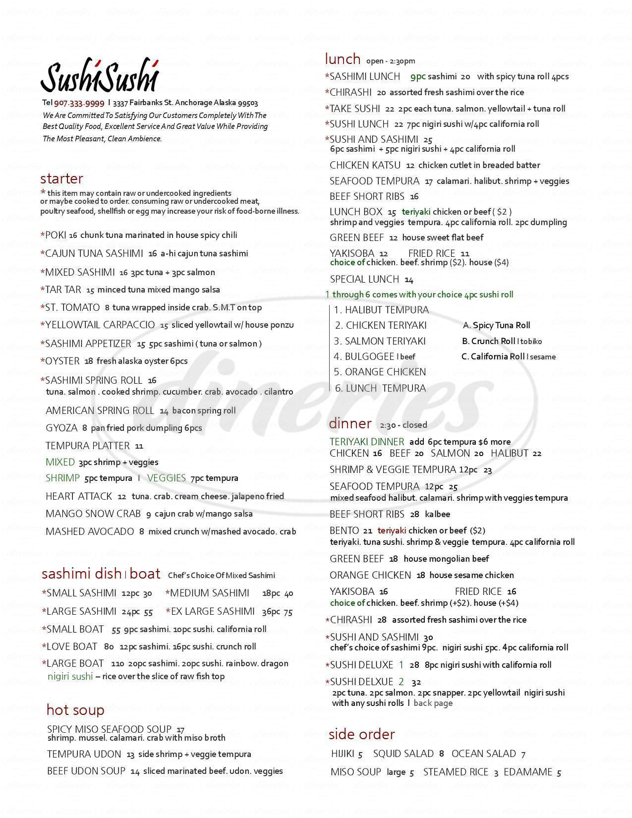 menu for Sushi & Sushi