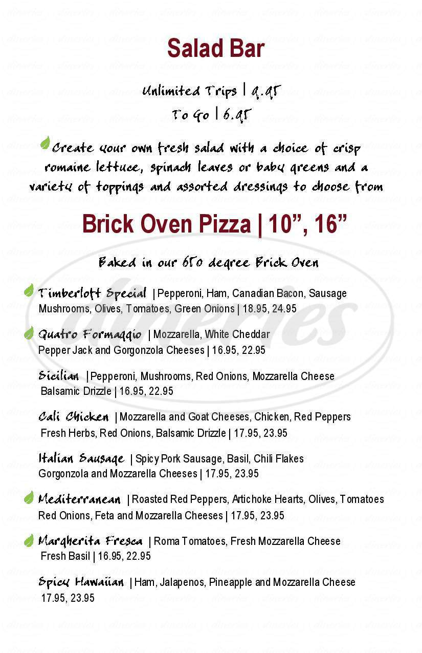 menu for Timberloft Pizzeria