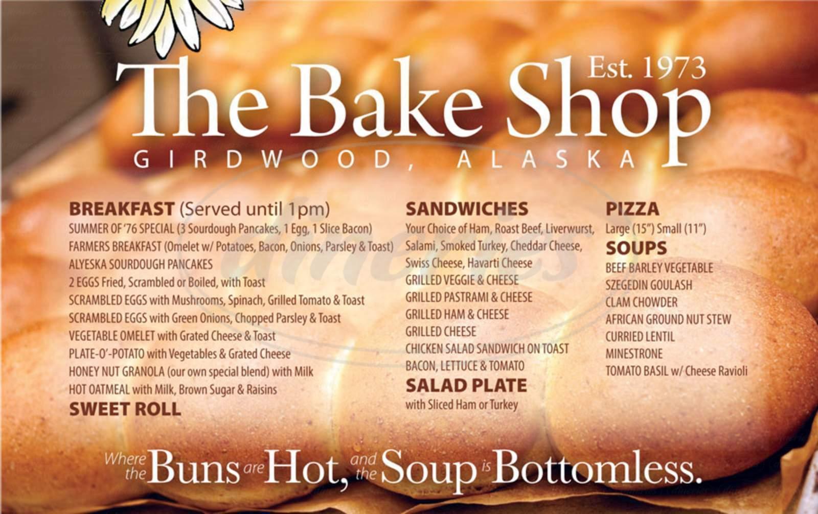 menu for The Bake Shop
