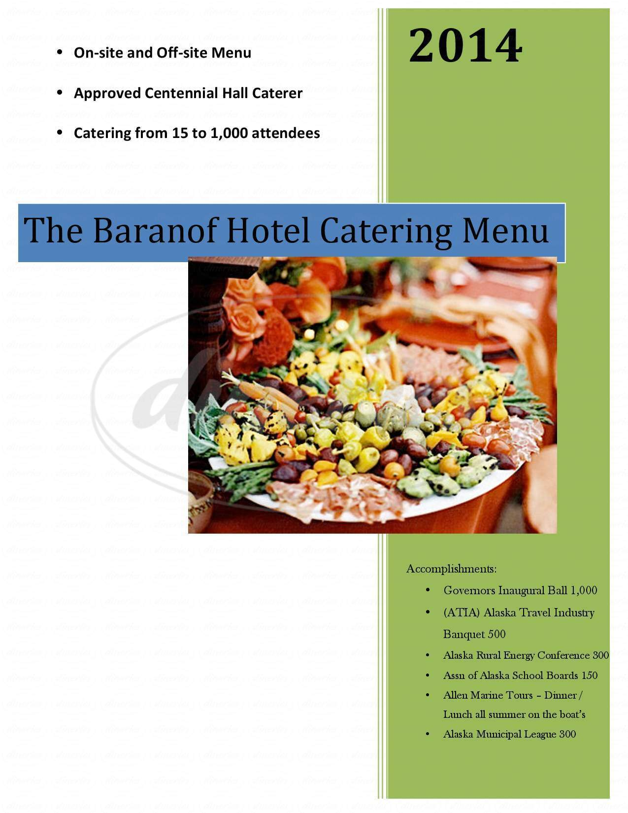 menu for Baranof Hotel