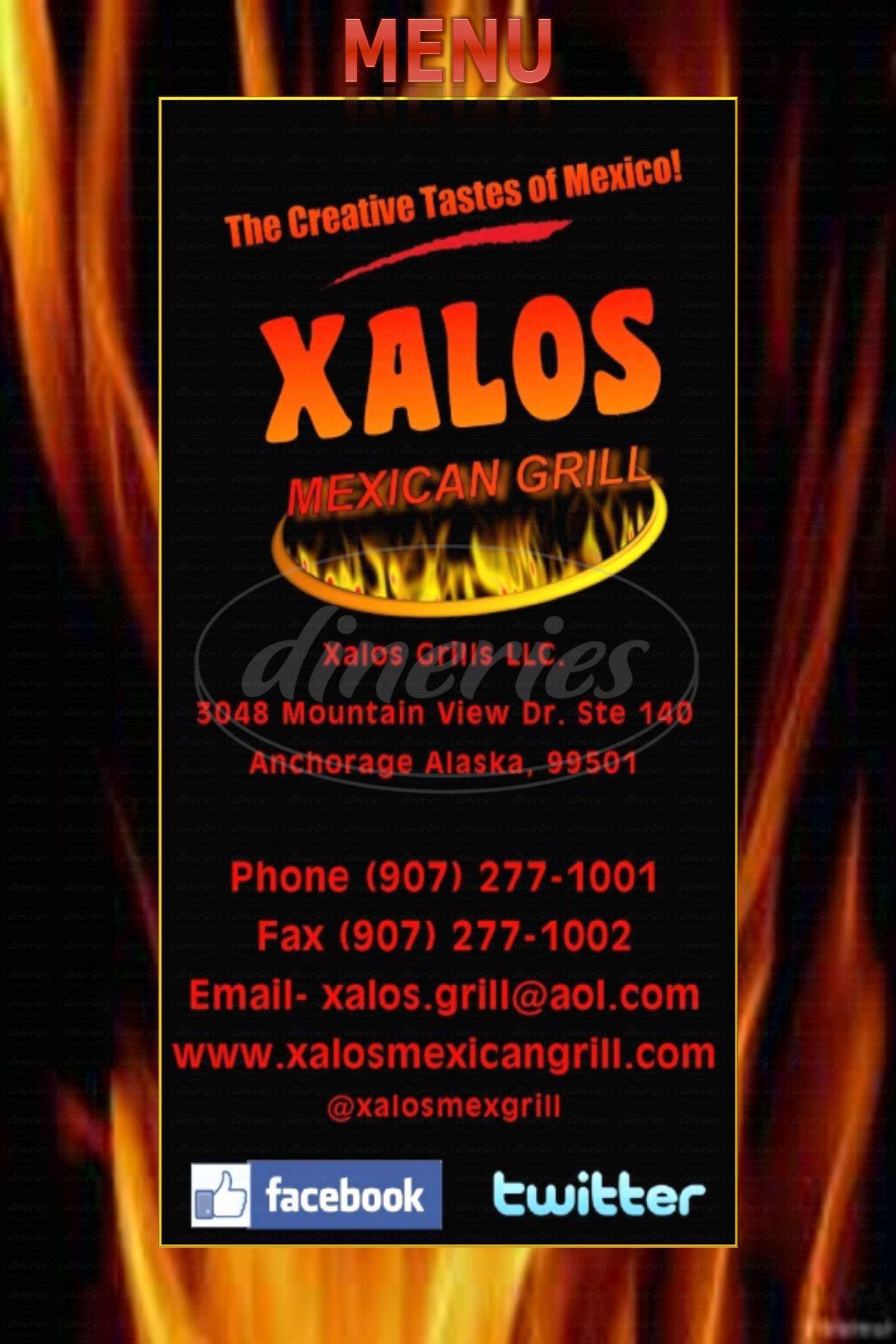 menu for Xalos Mexican Grill