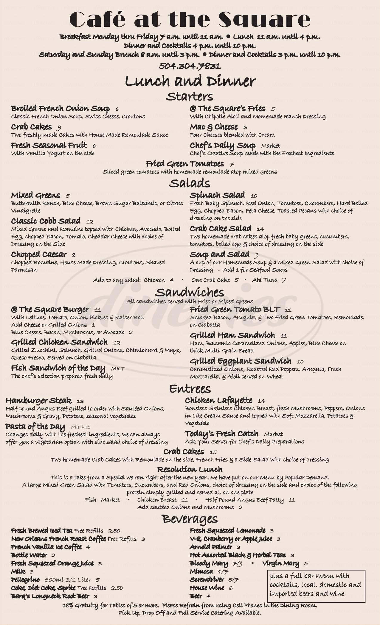menu for Café at The Square