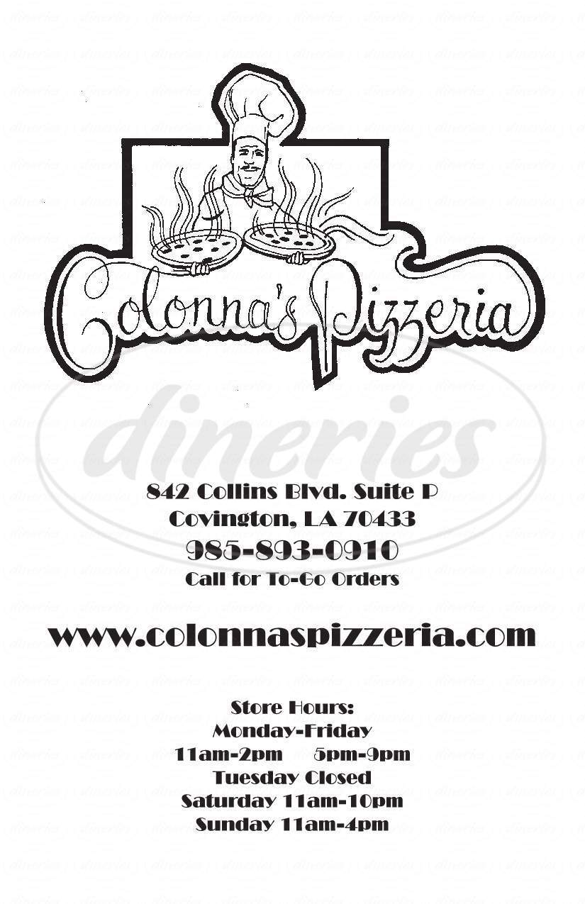 menu for Colonna's Pizzeria
