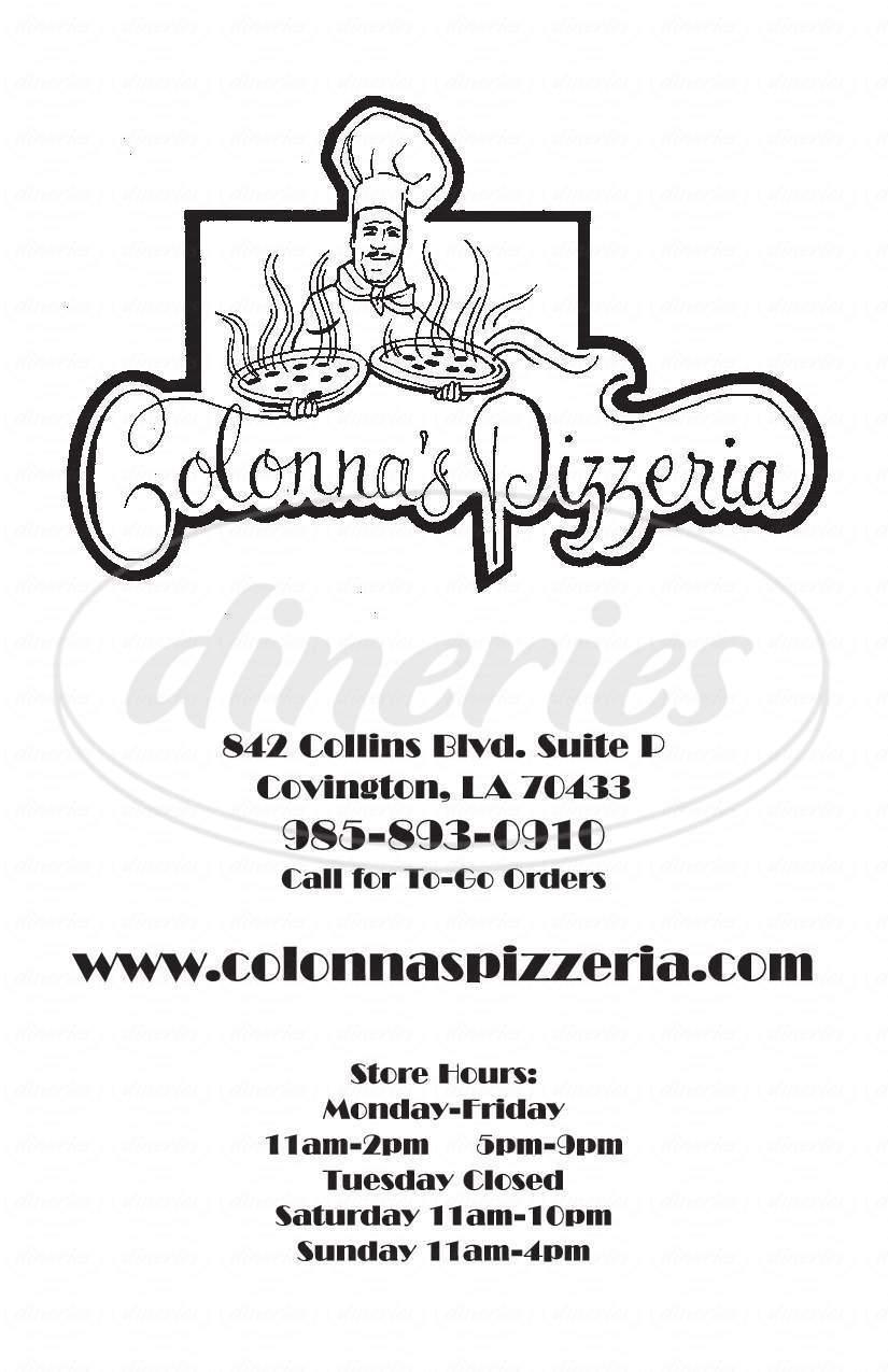 menu for Colonna's Pizzeria
