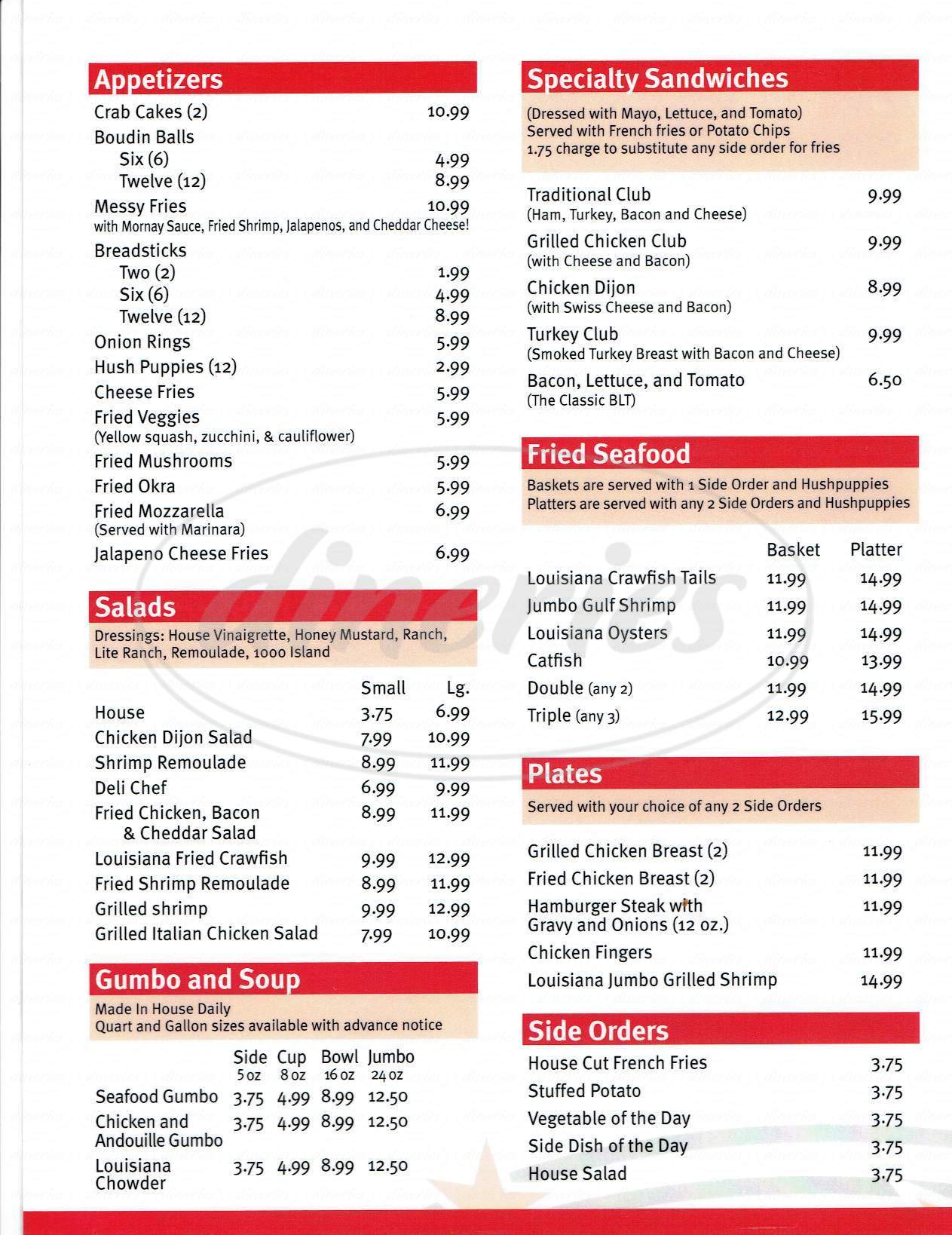 menu for Dempsey's Poboys