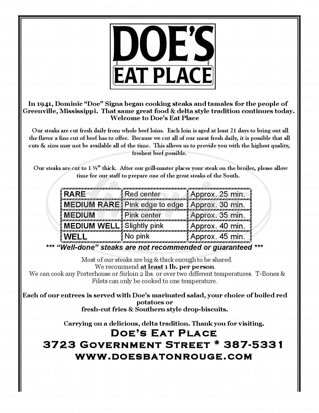 menu for Doe's Eat Place