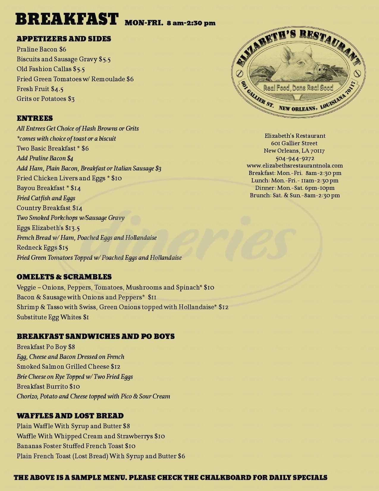 menu for Elizabeth's Restaurant