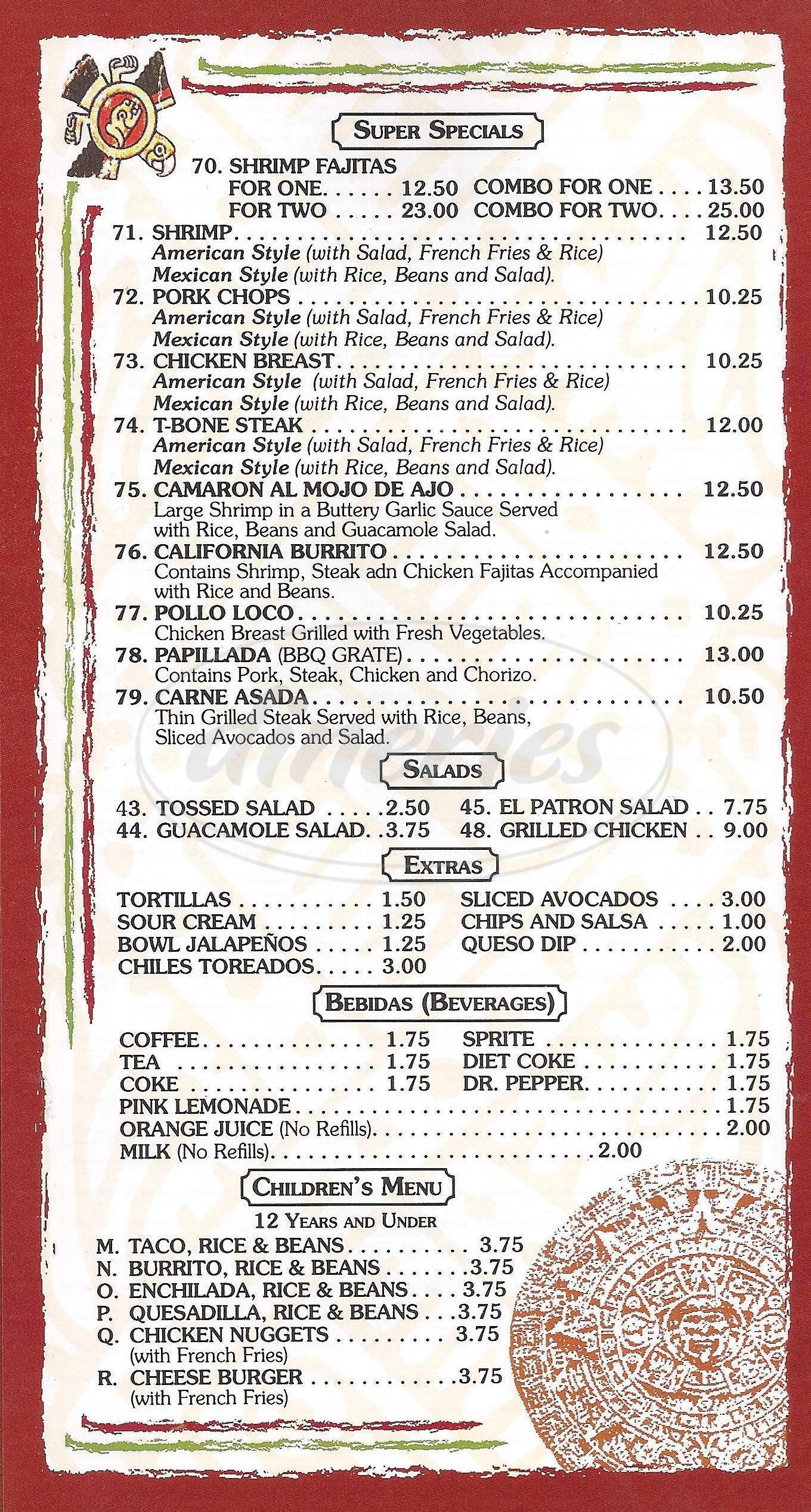 menu for El Patron