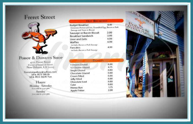 menu for Freret Street Poboy & Donut Shop