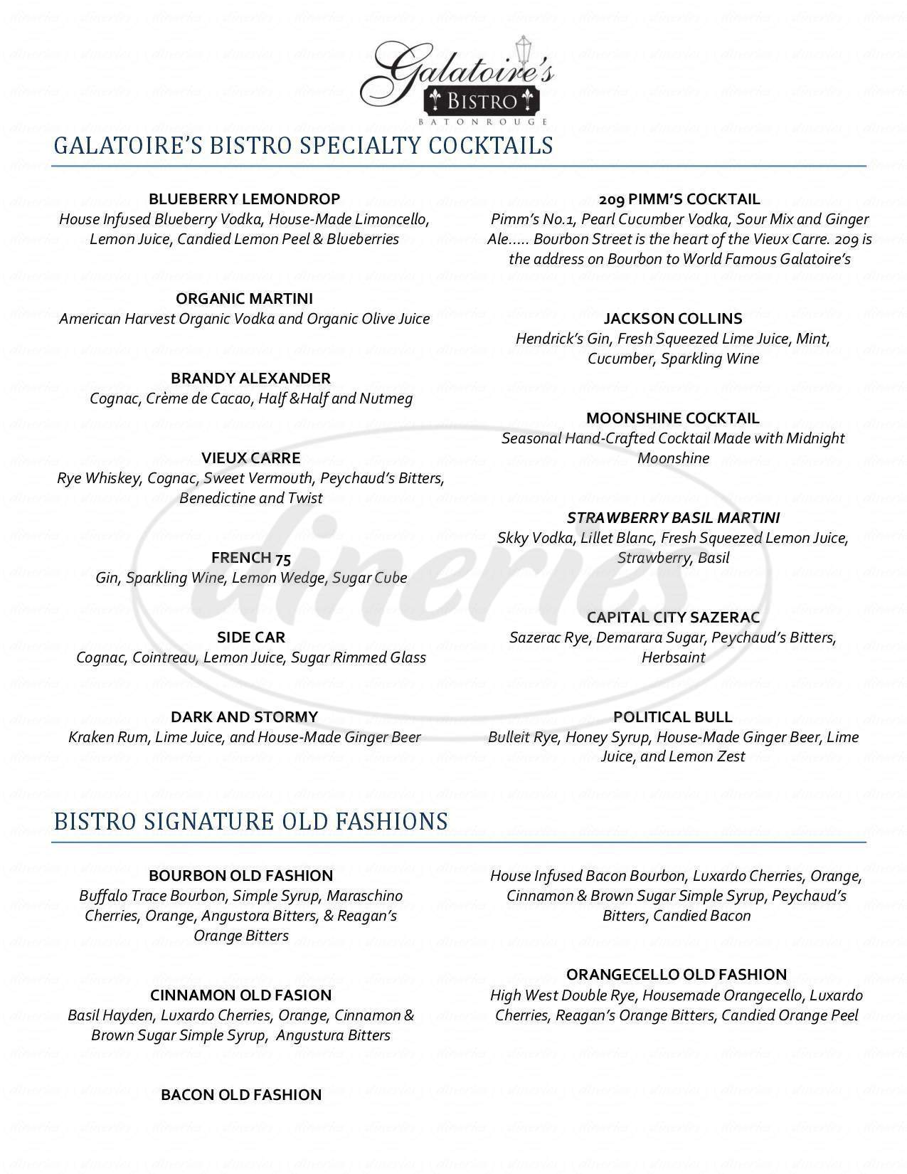 menu for Galatoire's Bistro