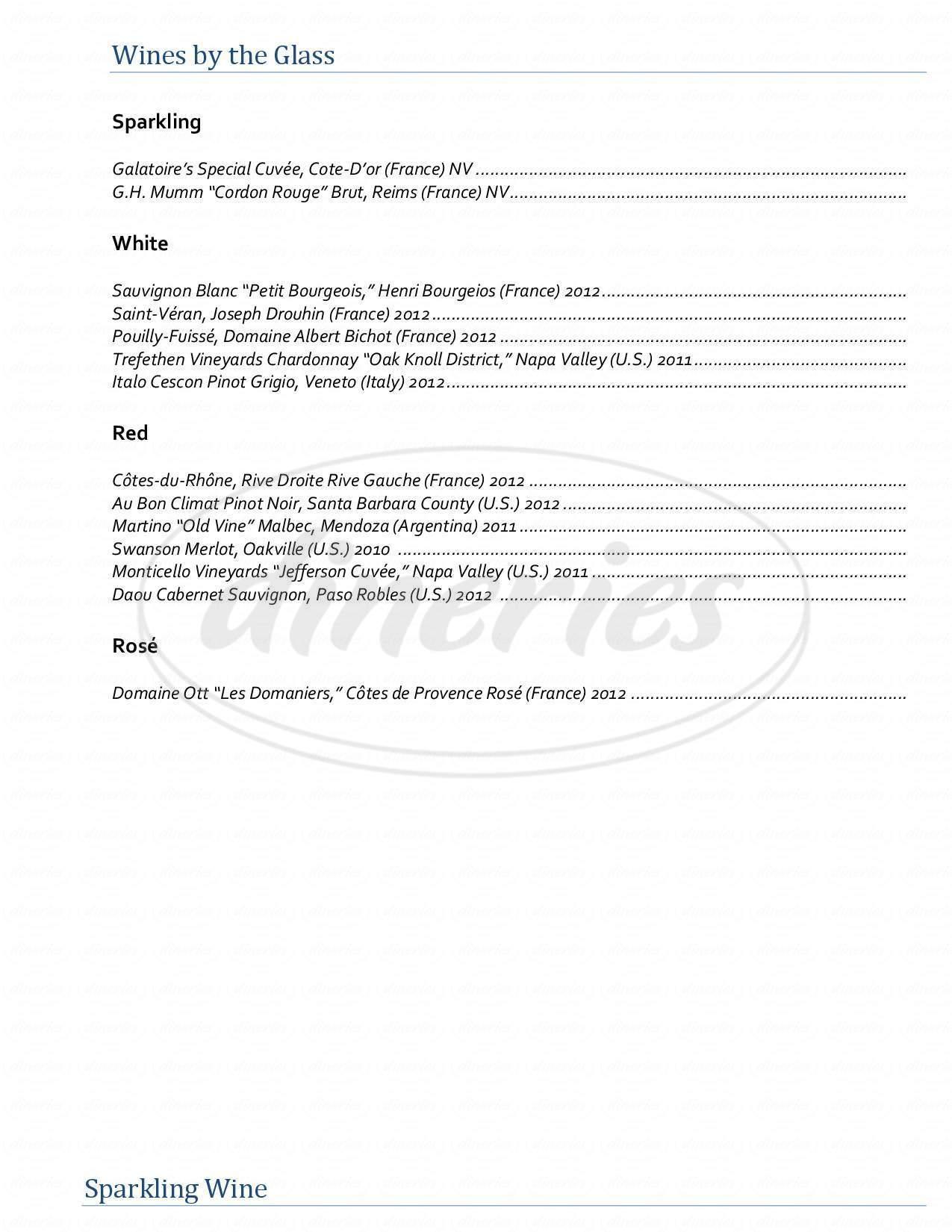 menu for Galatoire's Bistro