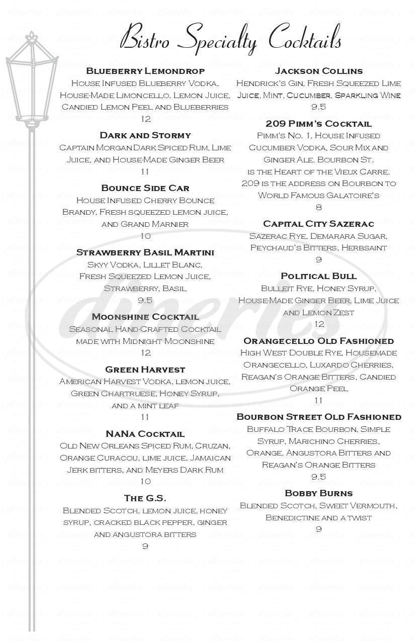 Big menu for Galatoire's Bistro, Baton Rouge