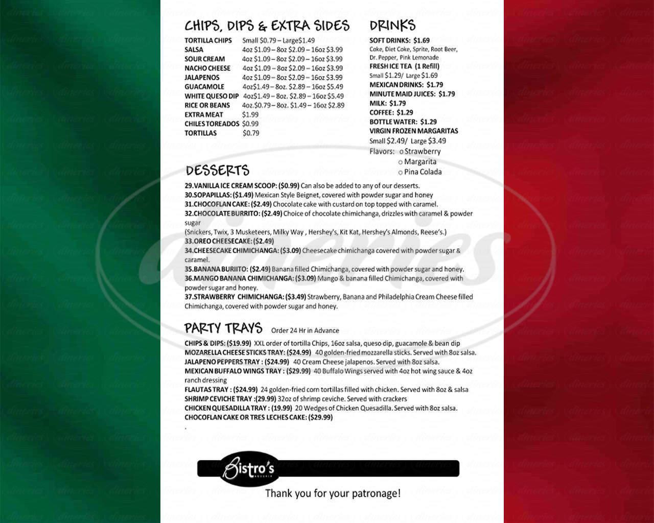 menu for Bistro's Taqueria