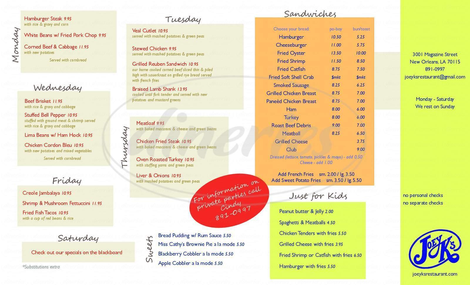 menu for Joey K's Restaurant & Bar