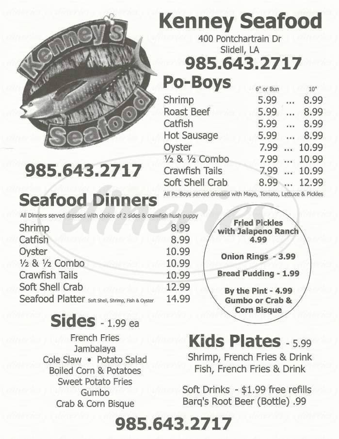 menu for Kenny's Seafood Inc.