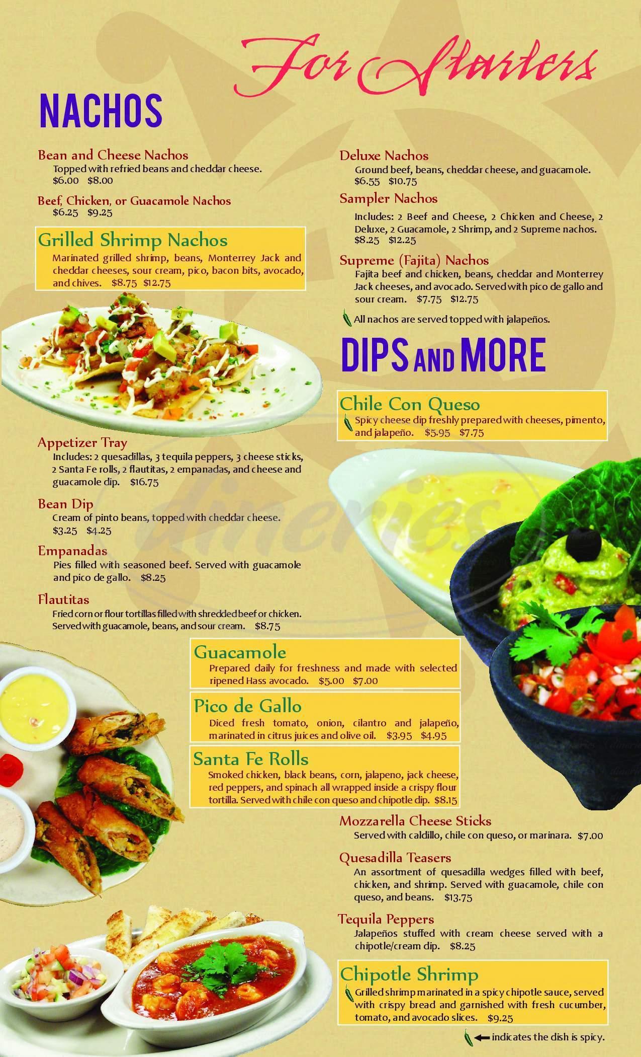 menu for La Casa Del Sol Mexican Restaurant