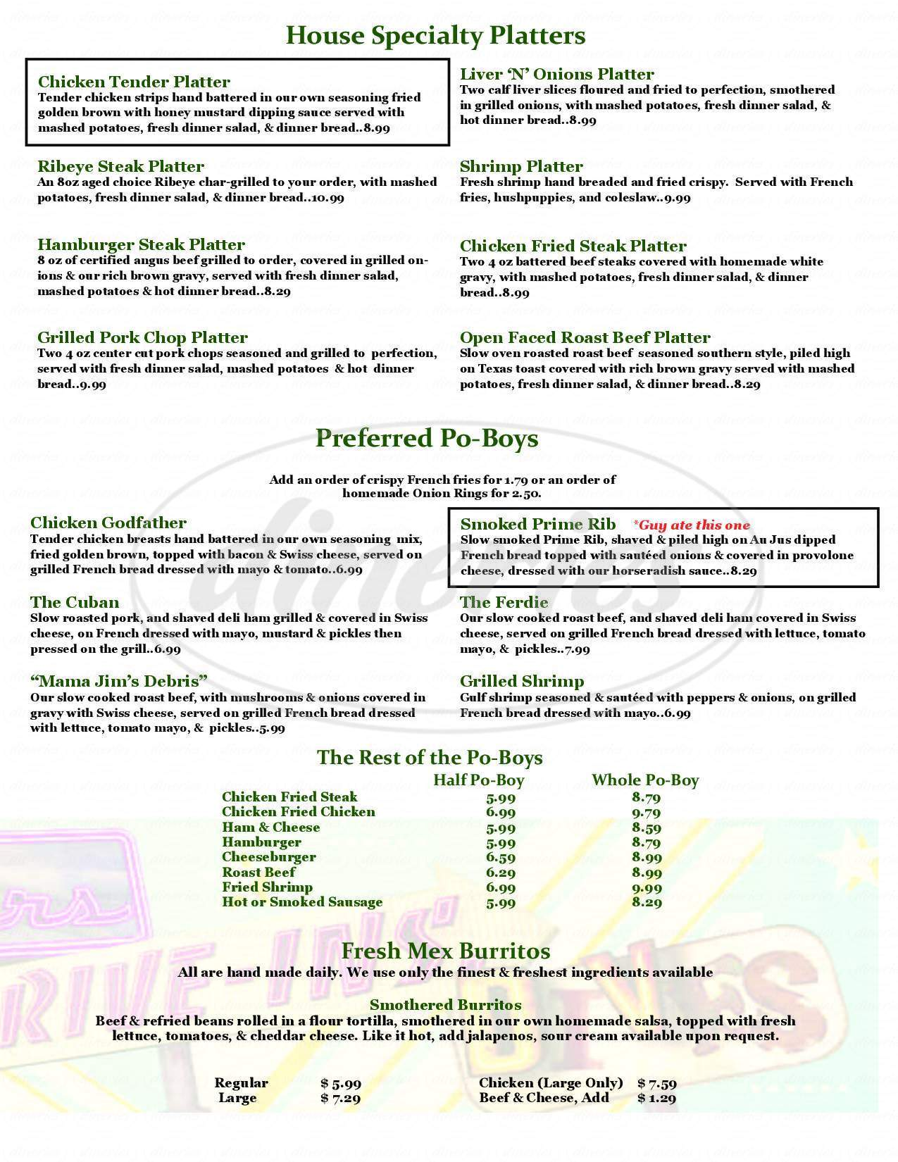 menu for La Pines Cafe