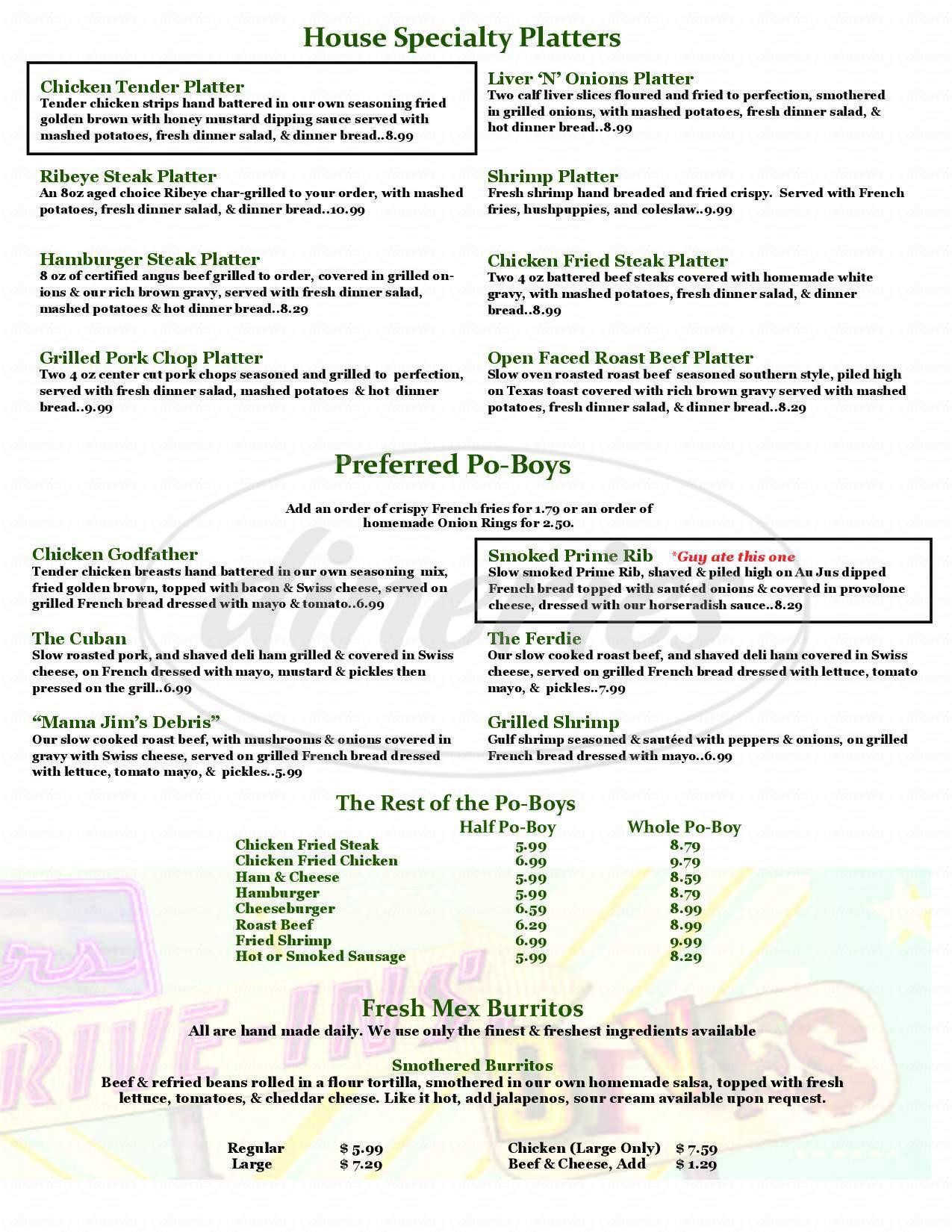 menu for La Pines Cafe