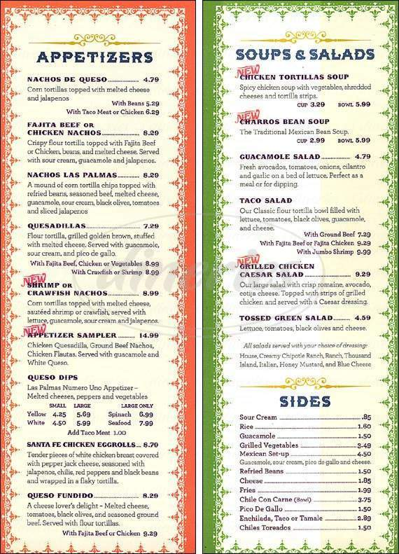 menu for Las Palmas Mexican Restaurant