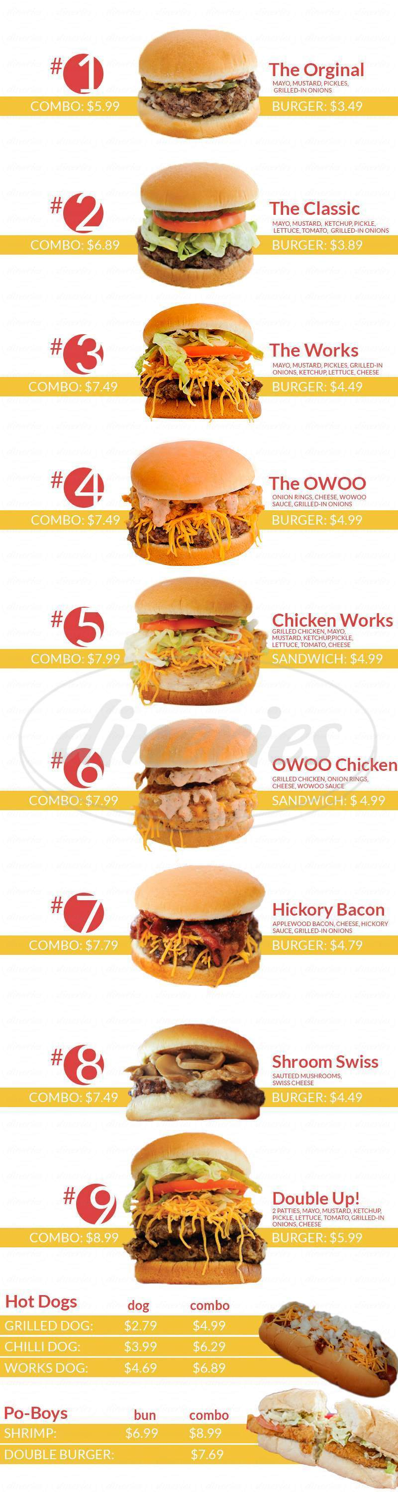 menu for Lee's Hamburgers