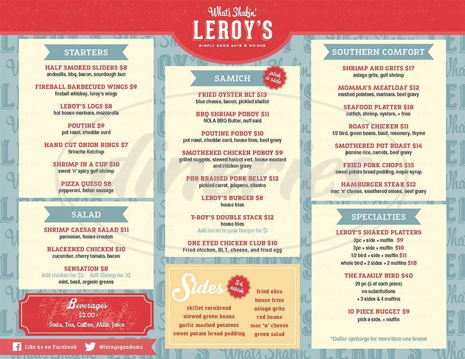 menu for Leroy's