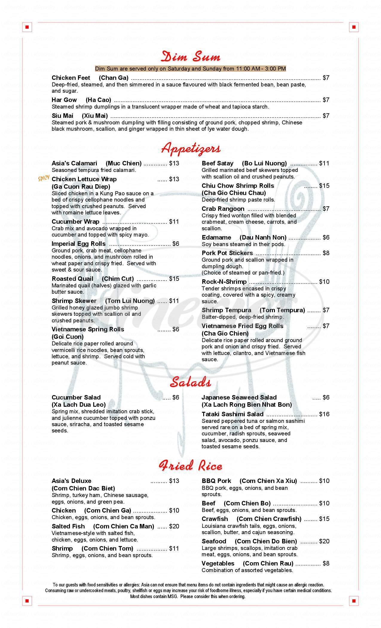 menu for Asia