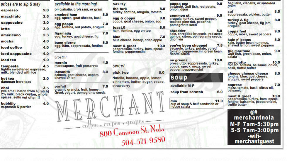 menu for Merchant