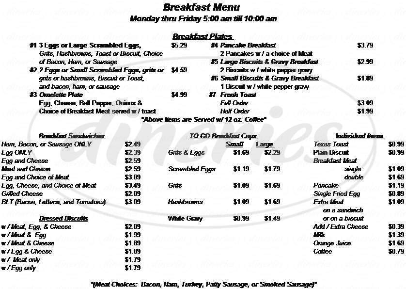 menu for Mission Street Cafe