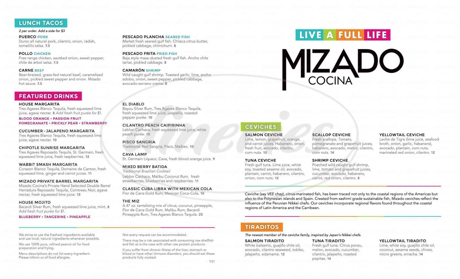 menu for Mizado Cocina