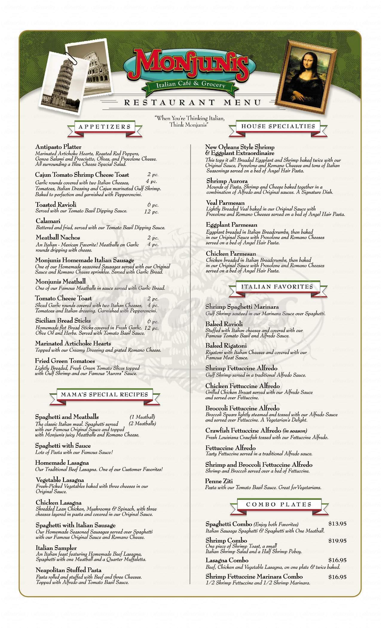 menu for Monjuni's