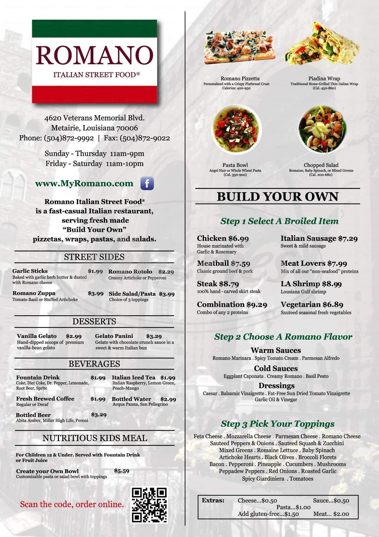 menu for Romano Italian Street Food