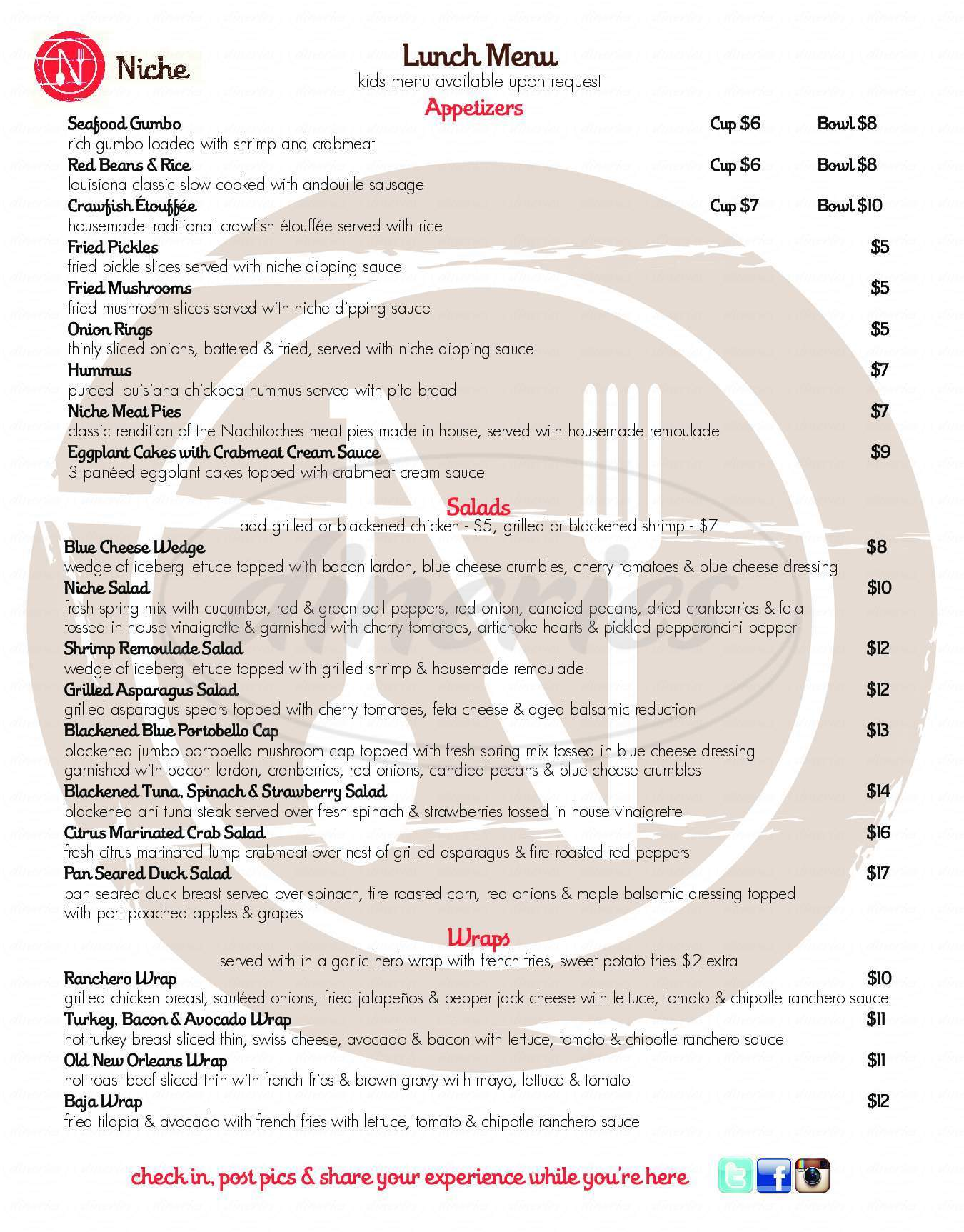 menu for Niche Restaurant