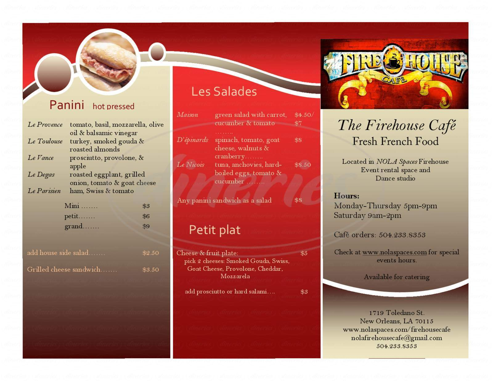 menu for Firehouse Cafe