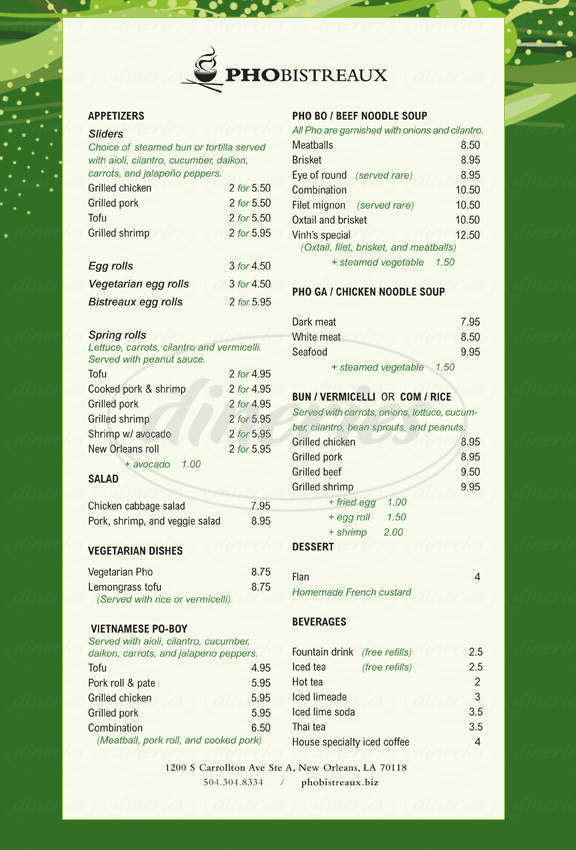 menu for Pho Bistreaux