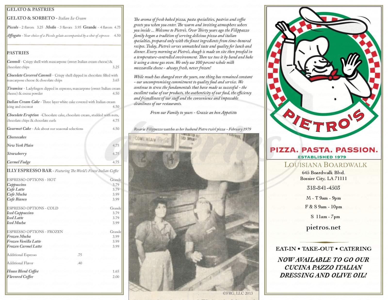 menu for Pietro's