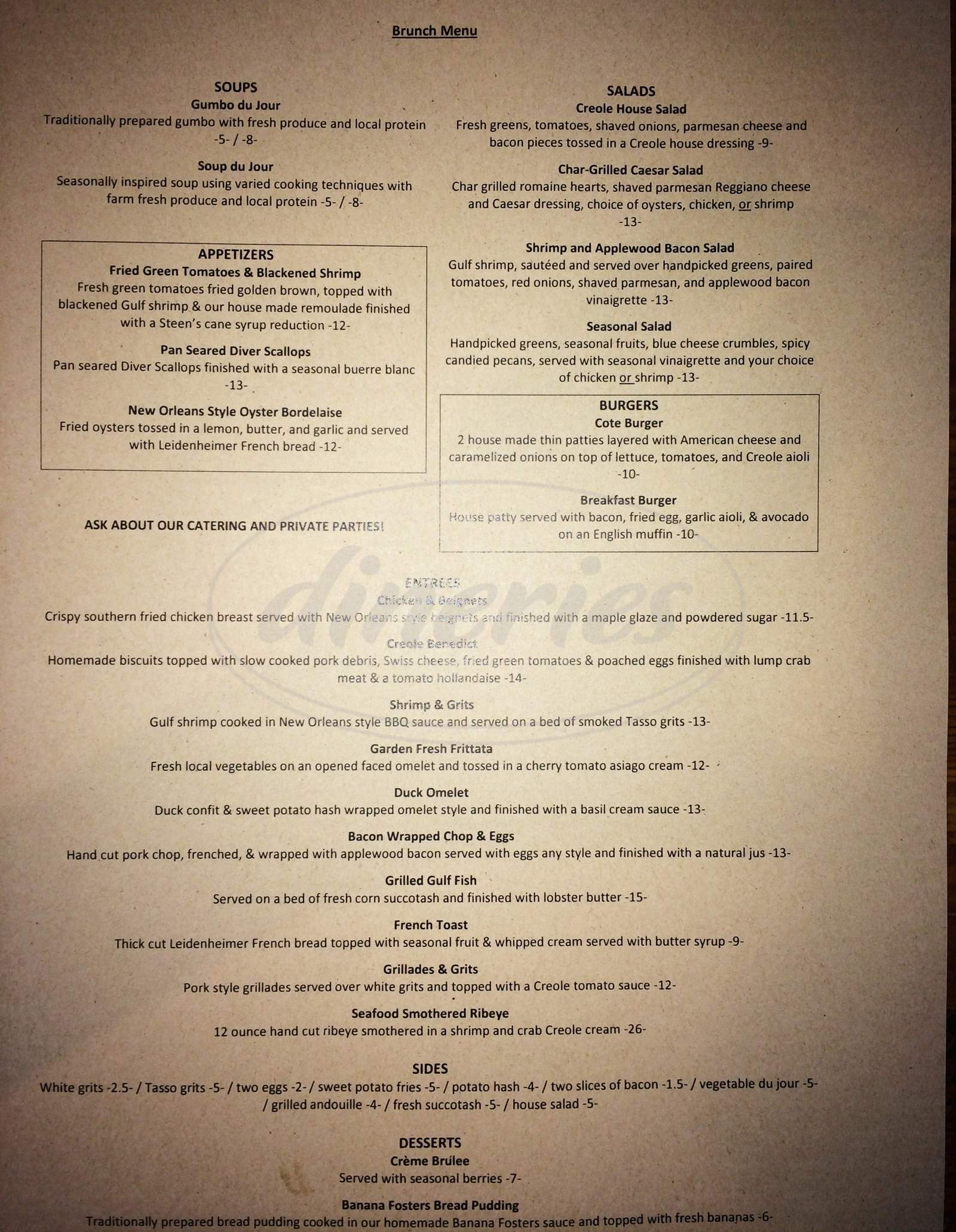 menu for Restaurant Cote